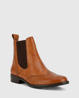 Camilo Dark Cognac Scotch Leather Ankle Boot.