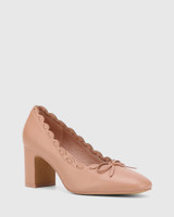 Guava Petal Pink Leather Block Heel Pump.