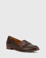 Hazie Chocolate Croc-Embossed Leather Slip On Loafer