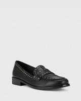 Emelian Black Leather Stud Detail Loafer.