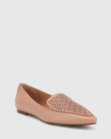 Phillis Petal Pink Leather Laser Cut Pointed Toe Flat