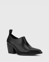 Keisha Black Leather Pointed Toe Block Heel Bootie