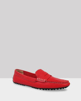 Driva Red Leather Contrast Stitch Loafer