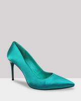 Haldwin Jade Satin Pointed Toe Stiletto Heel.