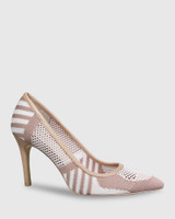 Harman Nude & White Knit Pointed Toe Stiletto Heel.