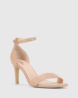 Imina Nude Leather Ankle Strap Stiletto Heel Sandal.