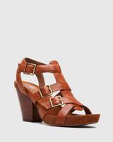 Cohen Cognac Leather Cone Heel Sandal.
