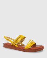 Evelyn Canary Yellow Leather Sandal.
