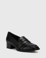 Fentis Black Croc-Embossed Leather Square Toe Loafer