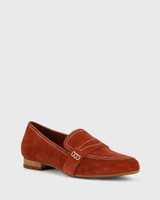 Abelon Rust Suede Stitched Flat Penny Loafer