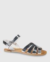 Fissa Silver Leather Open Toe Flat Sandal.
