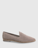 Alvaro Stone Suede Perforated Pointed Toe Loafer.