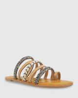 Fabiola Natural Leather Flat Sandal.