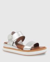 Kaylin Silver Elastic Leather Wedge Sandal.