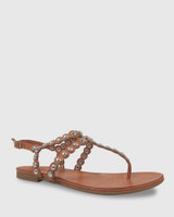 Kezia Coconut Leather Silver Stud Flat Sandal.