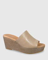 Henrietta Nude Leather Woven Detail Wedge.