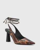 Queena Black & Brown Leather Ankle Strap Cone Heel Pump.