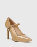 Hanner Taupe Patent &  Leather Stiletto Heel .