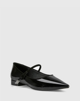 Meara Black Patent & Suede Leather Point Toe Flat.