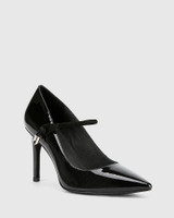 Hanner Black Patent & Suede Leather Stiletto Heel