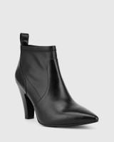 Holten Black Stretch Leather Block Heel Ankle Bootie.