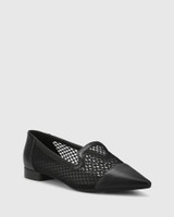 Melodie Black Leather & Mesh Pointed Toe Flat.