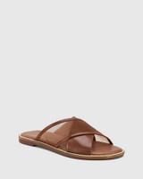 Calla Cedar Leather & Mesh Crossed Strap Slide.