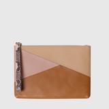 Louie Tan Petal Pink & Snake Print Leather Pouch