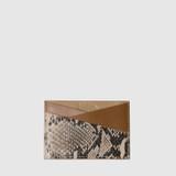 Laver Tan Petal Pink & Snake Print Leather Card Holder
