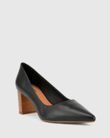 Dalena Black Scotch Leather Block Heel Point Toe.