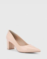 Dalena Pink Patent Pointed Toe Block Mid Heel.