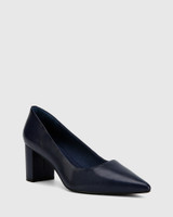 Dalena Oxford Blue Nappa Leather Pointed Toe Block Heel