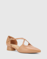 Addy Desert Beige Leather Pointed Toe Flat.