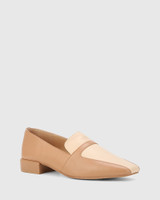 Abril Desert Beige & Pearl Leather Square Toe Flat Loafer.
