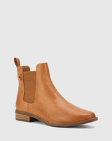Cezar Coconut Leather Round Toe Gusset Ankle Boot.