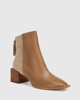 Aldwin Taupe Leather & Suede Square Heel Ankle Boot.