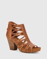 Carl Tan Leather Strappy Curve Block Heel.