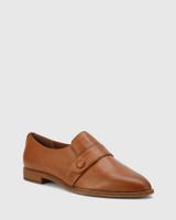 Elma Dark Cognac Leather Flat Loafer.
