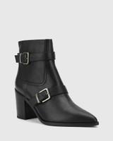 Pecola Black Leather Block Heel Ankle Boot.