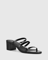 Ilana Black Patent Leather Block Heel Sandal.