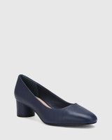 Galore Oxford Blue Leather Round Toe Pump.