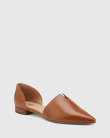 Midori Dark Cognac Leather Pointed Toe Flat.