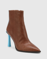 Harlo Sahara Tan / Aqua Blue Leather Pointed Toe Ankle Boot.
