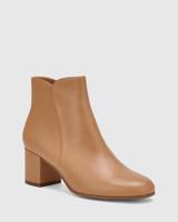 Luca Desert Beige Leather Block Heel Ankle Boot.