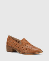 Flash Dark Cognac Leather Block Heel Loafer.