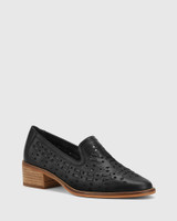 Flash Black Leather Block Heel Loafer.