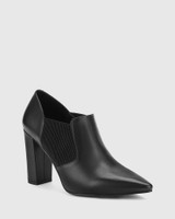 Herberto Black Leather Block Heel Pointed Toe Bootie.