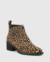 Jaime Leopard Print Hair-On Leather Ankle Boot.