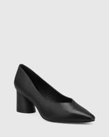 Destine Black Leather Flared Heel Pump.