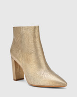 Hurlie Tuscan Gold Lizard Print Leather Block Heel Ankle Boot.